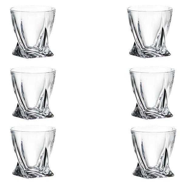 Set 6 pahare Whisky Quadro Bohemia 340ml din Sticla Cristalina cu TitaniumDimensiuni 55×55×58cmCutie de cadou inclusa