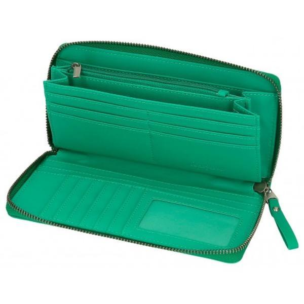 Portofel dama protectie RFID Pepe Jeans Aina verde - culoare verde compartiment special pentru bacnote carduri dimensiune 195x10x2 cm material piele sintetica multiple compartimente  sistem protectie card sloturi card inchidere cu fermoar