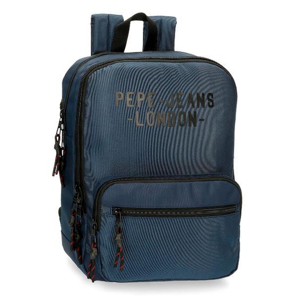 Rucsac laptoptableta 36 cm Pepe Jeans London Bromley albastru - bretele ajustabile  ergonomice material poliester compartiment special pentru laptop tableta 2 compartimente culoare albastru dimensiune 27x36x12 cm 2 buzunare frontale inchidere cu fermoar  maner superior