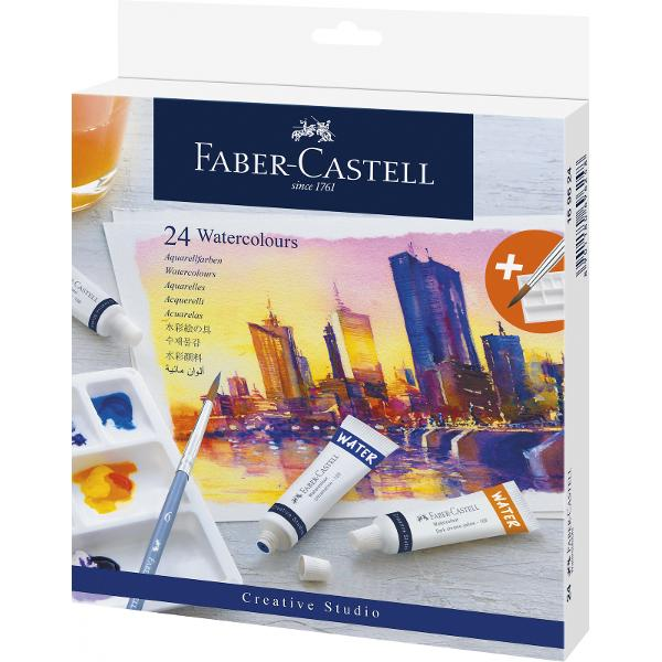 24 Culori in tuburi 9 ml  PaletaFaber-CastellSet tempera include o paleta pentru mixarea culorilorCulorifoarte pigmentate cu o luminozitate exceptionala sunt modalitatea ideala de a incepe cu pictura in acuarela