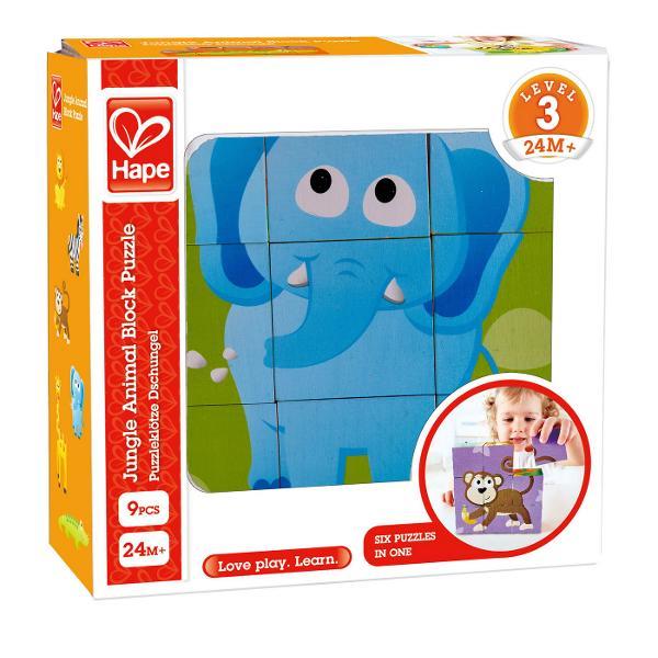 Set de puzzle cu bloc din lemn din noua piese Poate fi folosit pentru a crea 6 imagini de animale diferite Jungla este plina de animale neastamparate Completati diferitele parti ale acestui puzzle pentru a vedea leul elefantul girafa zebra crocodilul si maimuta curioasa Combina sase puzzle-uri intr-un singur set de blocuri Puneti cele noua piese ale puzzle-ului impreuna pe podea pentru a completa imaginea leului Acum incepeti din nou sa creati elefantul girafa zebra si crocodilul