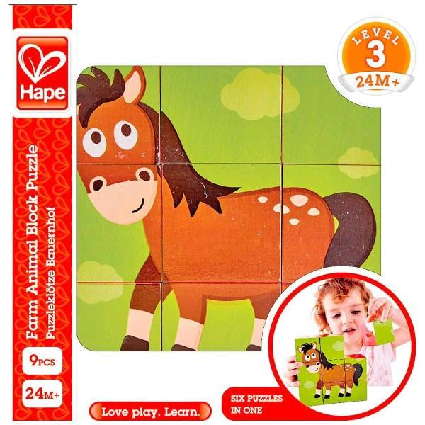 Fiecare ferma are nevoie de animale dragute Completati diferitele parti ale acestui puzzle pentru a vedea o rata o vaca un porc un cal o oaie si un cocos mandru Combina cele sase puzzle-uri intr-un set de blocuri Puneti cele noua piese ale puzzle-ului impreuna pe podea pentru a completa imaginea ratei Acum incepeti din nou sa creati vaca porcul calul oaia si cocosul Set de puzzle cu bloc din lemn din noua piese Jucariile sunt realizate din lemn folosind materiale ecologice