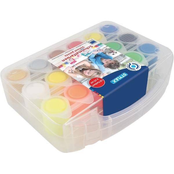 Gouache 18 culoriset6 culori standard6 culori neon6 culori metalizateContinut 18 borcanele x 25 ml ambalate in cutie de plastic cu manerNu este recomandat copiilor sub 3 ani Pericol de sufocareProdus de Stylex-Germania
