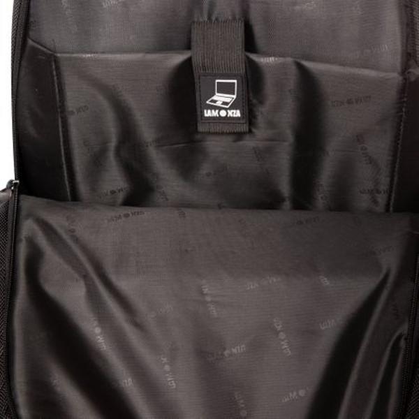 Rucsac pentru laptop cu doua compartimenteUn compartiment principal prevazut cu buzunar pentru laptop securizat cu banda velcroAl doilea compartiment este dotat cu organizer pentru depozitareBuzunar exterior frontal prevazut cu fermoarSpate ergonomic ce permite aerisirea si ofera confort la transportDoua buzunare exterioare laterale din material-plasaSpate si bretele anatomice