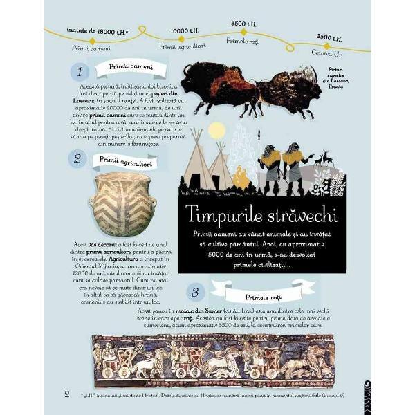 Istoria lumii pentu copii ne propune o c&259;l&259;torie captivant&259; prin intermediul a 100 de imagini semnificative de la picturile rupestre ale Epocii de Piatr&259; pân&259; la computerele zilelor noastre Descoper&259; evenimente-cheie ale istoriei universale &351;i felul în care marile imperii b&259;t&259;liile celebre arti&351;ti inventatori oameni de &351;tiin&355;&259; &351;i exploratori au schimbat lumea de-a lungul istoriei