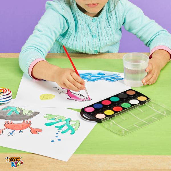 Acuarele in 12 culori vii in cutie rezistenta Pensula inclusa Formula uscata se dilueaza cu apa pentru o culoare uniformaAvantaje• Formula uscata se dilueaza cu apa pentru o culoare uniforma;• Acoperire buna;• Pensula inclusa in pretSiguranta Produsului• Siguranta la utilizare 3 Produs sigur pentru copiii cu varsta de minim 3 ani;• Ambalaj rezistent;• Nu contine talc sau PVC Corespunde Standardelor