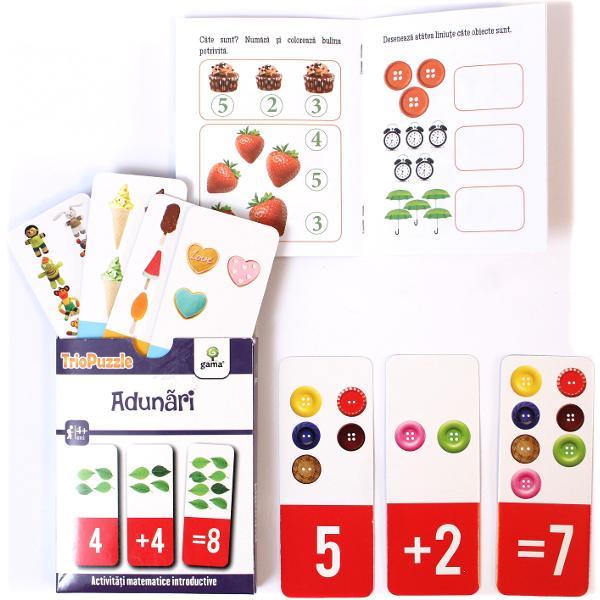 TRIOPUZZLE ADUN&258;RIU&536;OAREreprezint&259; o modalitate ingenioas&259; &537;i amuzant&259; de a-l ajuta pe copil s&259; în&539;eleag&259; concepte matematice s&259; numere &537;i s&259; fac&259; primele adun&259;riPachetul con&539;ine• o mini-carte cu jocuri &537;i indica&539;ii pentru p&259;rin&539;i;• 60 de carduri care