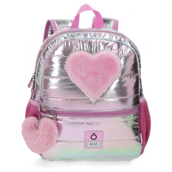 Rucsac 32 cm Enso Fancy - 1 compartiment bretele ajustabile  ergonomice culoare roz & argintiu dimensiune 25x32x12 cm material poliester