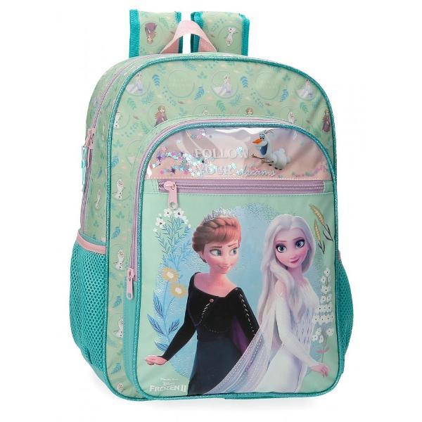 Ghiozdan pentru scoala cu 1 compartiment multicolor cu personajele Elsa si Anna din filmul FrozenBretelele sunt ajustabile pentru o purtare confortabila Dimensiuni 30x40x13cm capacitate 15 litri