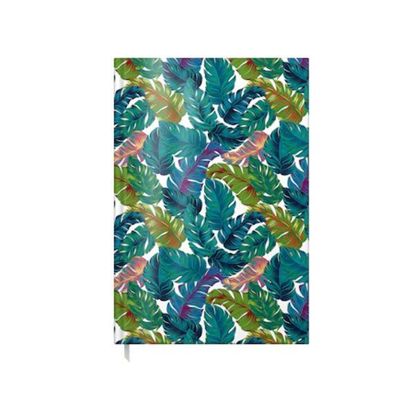 AGENDA A5 NEDATATA 100F TROPICAL LEAVES coperta carton buretat laminata lucios interior hartie offset 80gtiparita color cusuta semn de carte primelepagini sunt calendar pentru anii 2022 2023 si 2024 planificator saptamanal si informatii utilediv