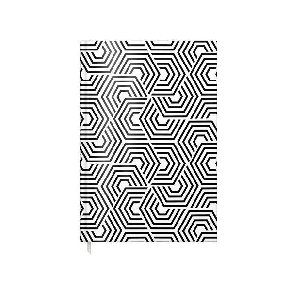 AGENDA A5 NEDATATA 100F BLACK & WHITE coperta carton buretat laminata lucios interior hartie offset 80gtiparita color cusuta semn de carte primelepagini sunt calendar pentru anii 2022 2023 si 2024 planificator saptamanal si informatii utilediv