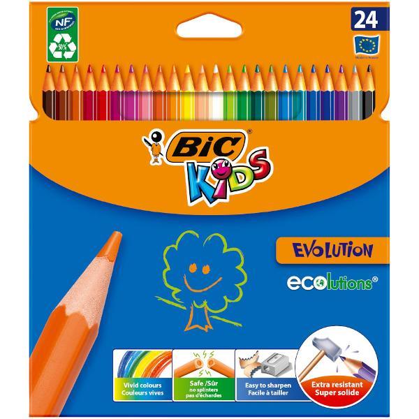 Creioanele colorate BIC Kids Evolution ECOlutions sunt rezistente la soc rezistente la mestecat si nu se sparg daca sunt rupte Cu o manta protectoare ultra-durabila ele pot fi utilizate zilnic si sunt creioanele ideale pentru copii cu varsta de 5 si peste In plus ele sunt fabricate cu ajutorul unor pigmenti de inalt&259; calitate astfel incat umpluturile solide si desenele clare sa devina o sarcina usoara • Pachet de 24 creioane colorate ecologice in culori vesele si