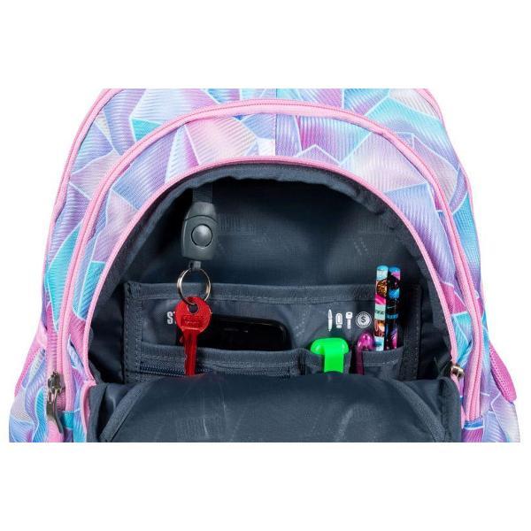 Ghiozdan cu 4 compartimente 2 buzunare exterioare 2 buzunare interioare suplimentare buzunar interior captusit cu fleece iesire castiSpate profilat ergonomic rigidizat in plus bretele moi cu reglare de lungime material impermeabil