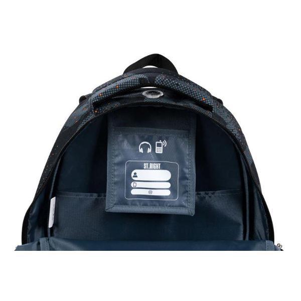 Ghiozdan cu 4 compartimente buzunar interior captusit cu fleece spate profilat ergonomic rigidizat in plus bretele moi cu reglare de lungime material impermeabil maner intarit ergonomic