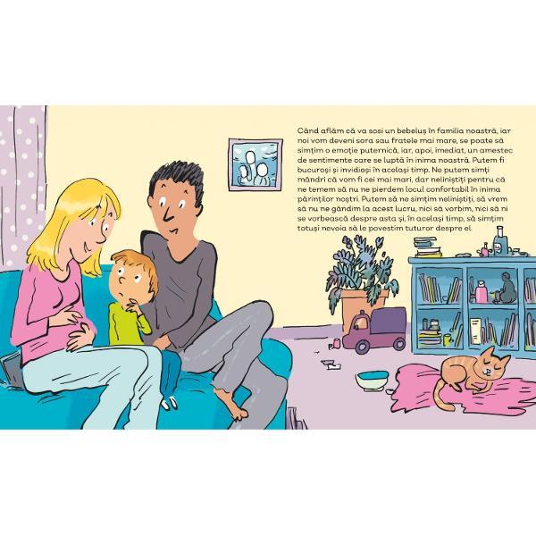 """""""Emo&539;iile &537;i sentimentele"""" o carte cu ilustra&539;ii interesante &537;i colorate îi ajut&259; pe copiii cu vârsta peste 2 ani s&259;-&537;i în&539;eleag&259; mai bine st&259;rile prin care trec &537;i s&259; le dep&259;&537;easc&259; Cartea este scris&259; la persoana întâi la singular naratorul fiind copilul care cite&537;te O emo&539;ie puternic&259; este ca un val uria&537;"""