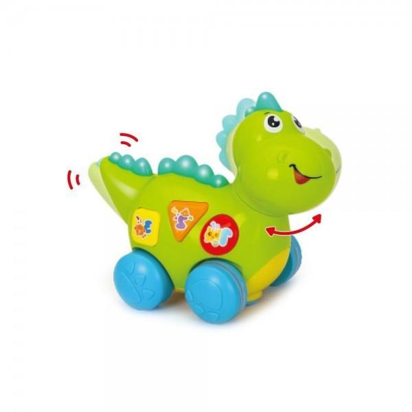 Micul dinozaur cu lumini si sunete va oferi copilului dumneavoastra momente pline de distractie si veselieApasa pe butoane urmareste culorile asculta sunetele aceste simple dar extrem de importante activitati sunt benefice pentru dezvoltarea inteligentei si atrag dupa sine curiozitatea copilului in timpul joculuiLuminile emise de catre aceasta ii starnesc curiozitatea descoperind noi moduri de a se juca Dezvolta perceptia vizuala si coordonarea dintre maini si ochiDinozaurul are