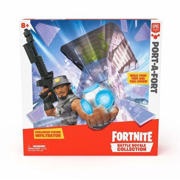 Setul de joaca Fortnite Port-A-Fort include un fort exclusiv Battle Royale CollectionColectia Battle Royale este o linie de figurine autentice Fortnite vehicule si playe-uri care insumeaza 100 de figurine Royale vandute separatFiecare figurina detaliata include arme schimbabile si accesoriiPersonalizeaza-ti figurina preferata la fel ca in jocSetul include 28 piese pt a-ti crea propriul fort  1 figurina FortniteDimensiuni