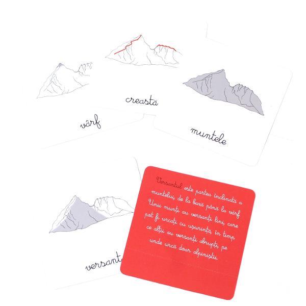 Cardurile incluse în pachet prezint&259; continentele &537;i oceanele lumii relieful major al continentelor articula&539;iile &539;&259;rmurilor precum &537;i alc&259;tuirea unui vulcan unui munte &537;i a unui râu Termenii sunt grupa&539;i pe categorii în jurul unor no&539;iuni de baz&259; &537;i ilustra&539;i prin reprezent&259;ri color Fiecare grup con&539;ine 1 card general pentru