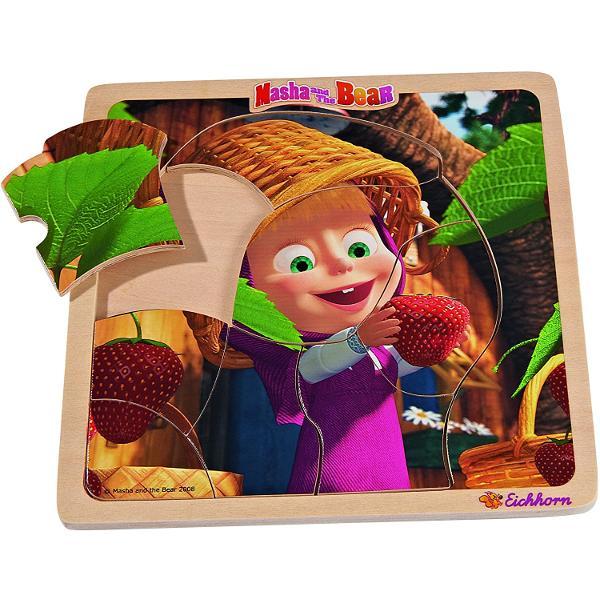 Set de 4 puzzle Masha si UrsulDimensiune puzzle asamblat 20 x 20 cm