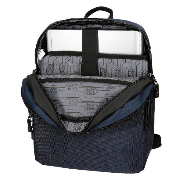 Rucsac Roll Road Stock - bretele ajustabile  ergonomice culoare albastru compartiment special pentru laptop dimensiune 27x36x12 cm material poliester 1 compartiment 1 buzunar frontal maner superior