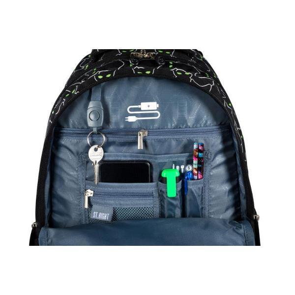 Ghiozdan cu 4 compartimente buzunar interior captusit cu fleece iesire casti Spate profilat ergonomic rigidizat in plus bretele moi cu reglare de lungime material impermeabil maner intarit ergonomic Manerele cu fermoar ale compartimentului principal permit instalarea unui lacat