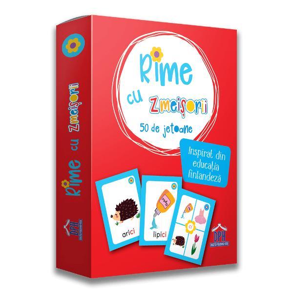 Pachetul Rime cu Zmei&537;orii inspirat din educa&539;ia finlandez&259; îi ajut&259; pe copii s&259; recunoasc&259; &537;i s&259; înve&539;e scrierea corect&259; a grupurilor de litere &537;i a grupurilor de sunete în limba român&259; prin perechi de rime &537;i jocuri distractive care implic&259; concentrare &537;i mi&537;care Se adreseaz&259; copiilor cu vârste peste 5 ani Jocurile &537;i activit&259;&539;ile sunt