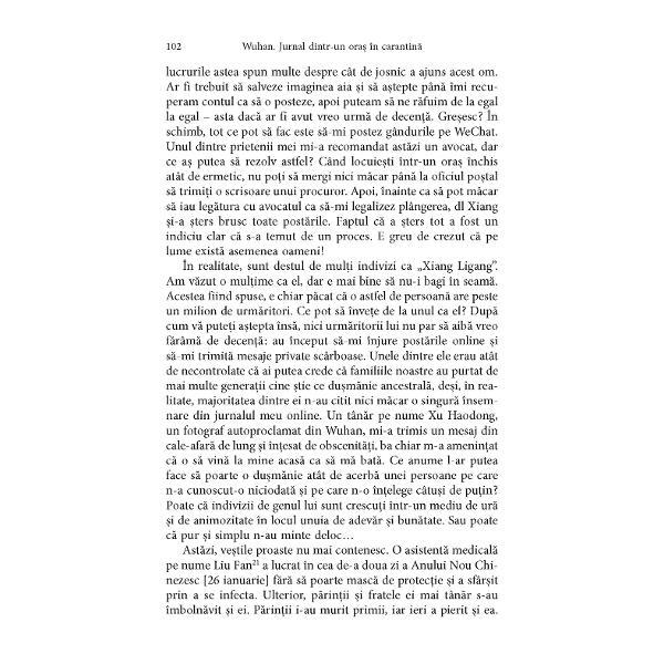 Wuhan Jurnal dintr-un ora&537; în carantin&259;În stocO m&259;rturie tulbur&259;toare din timpul epidemiei de COVID-19 datorat&259; uneia dintre cele mai importante scriitoare contemporane din ChinaCu o postfa&539;&259; de Michael BerryTraducere din