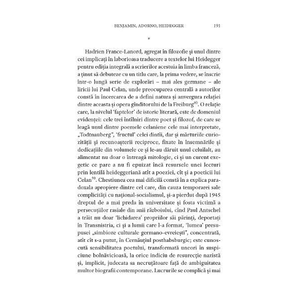 """""""Lectura unui poem de Paul Celan reprezint&259; o întreprindere dificil&259; &351;i aceasta deoarece textul celanian se împotrive&351;te nu doar modelului tradi&355;ional de 'lirism' ci &351;i celui promovat de ceea ce s-a numit «poezie modern&259;» În r&259;sp&259;r cu discursul liric construit pe formule descriptive &351;isau narative Celan î&351;i dezgole&351;te propriul discurs poetic de orice inten&355;ie"""